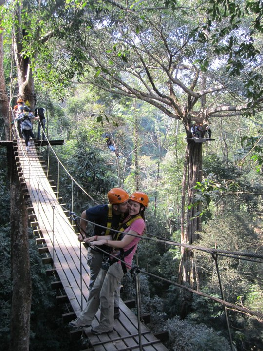 Zip lining in Thailand