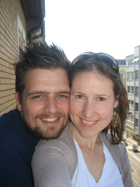 This is us on the balcony of our old apartment in Switzerland, the day I flew to India. Roman joined me there a few weeks later.